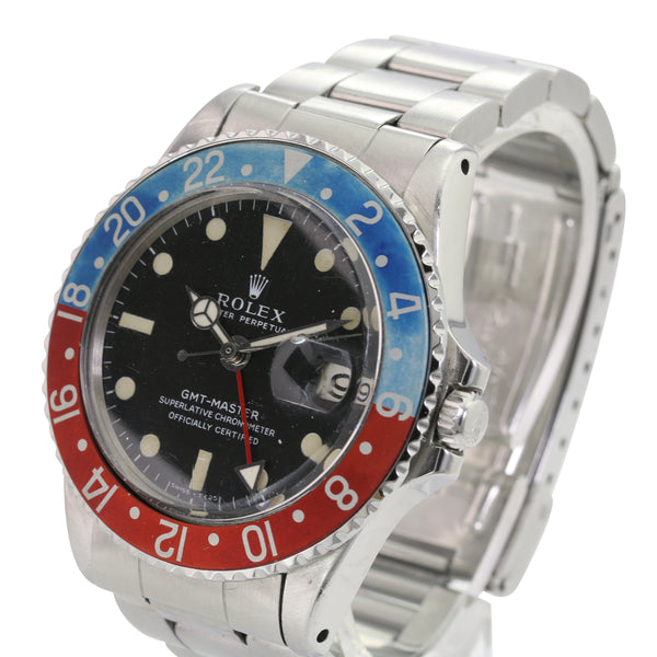 Rolex GMT-Master 1675 SS Matte Black Luminous Dial Faded Pepsi Insert - LSM WATCH