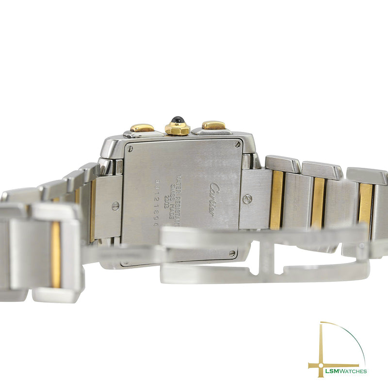 Unisex Cartier Watch Tank Française 2303 Two-Tone White Roman Dial 28 x 36mm