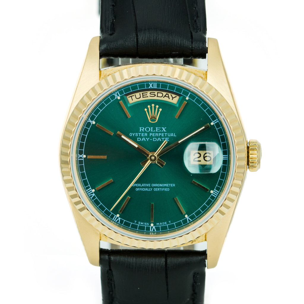 Pre-Owned Men's Rolex Men's Day-Date 18238 36mm Gold Watch Green Stick Dial Black Leather - LSM WATCH