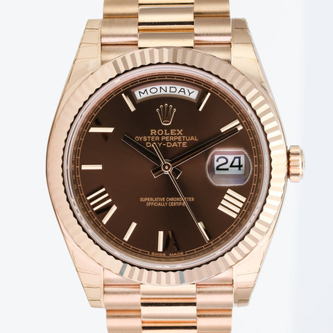 Rolex Men's Watch 40mm Day-Date 228235 18K Rose Gold Brown Roman Numeral Dial - LSM WATCH