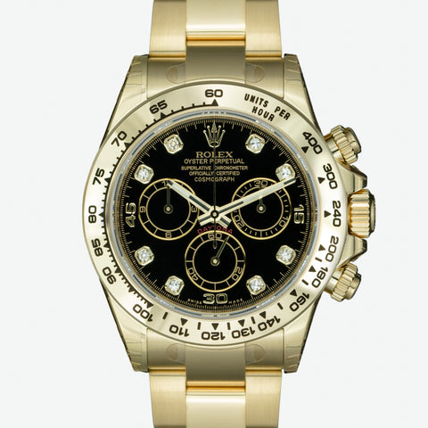Rolex Mens Watch 40mm Cosmograph Daytona 116508 18K Gold Black Diamond Dial - LSM WATCH