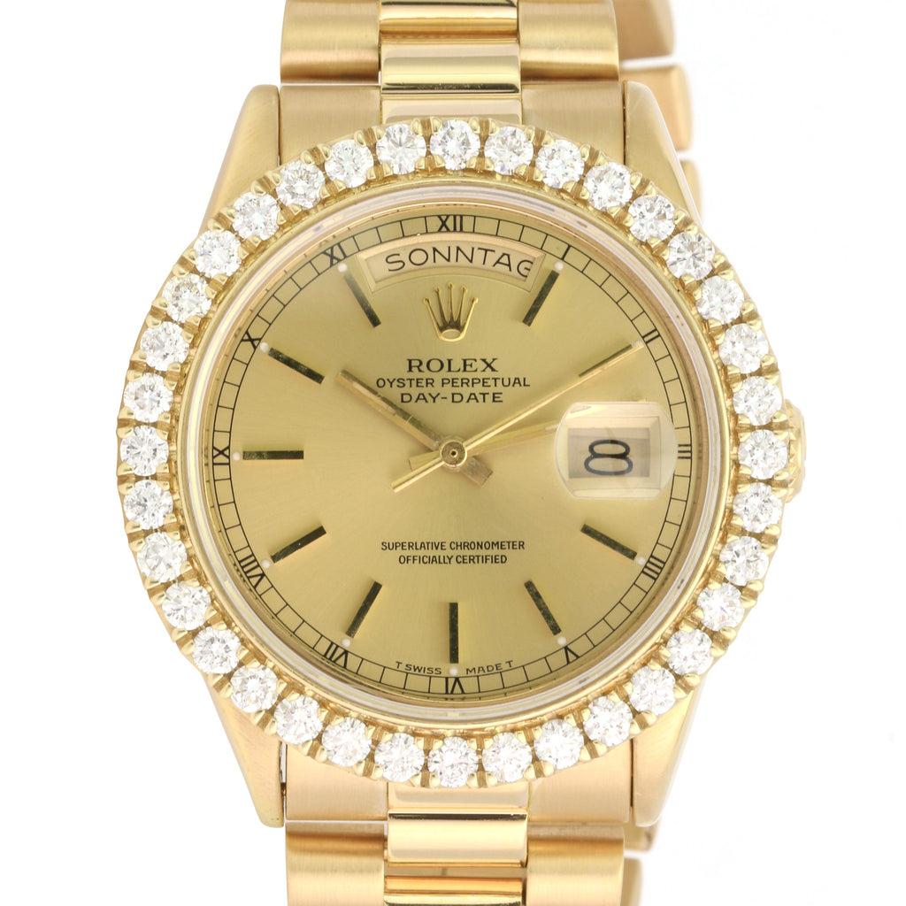 Rolex Men's Day-Date 18038 36mm Gold President Band Champagne Dial Diamond Bezel