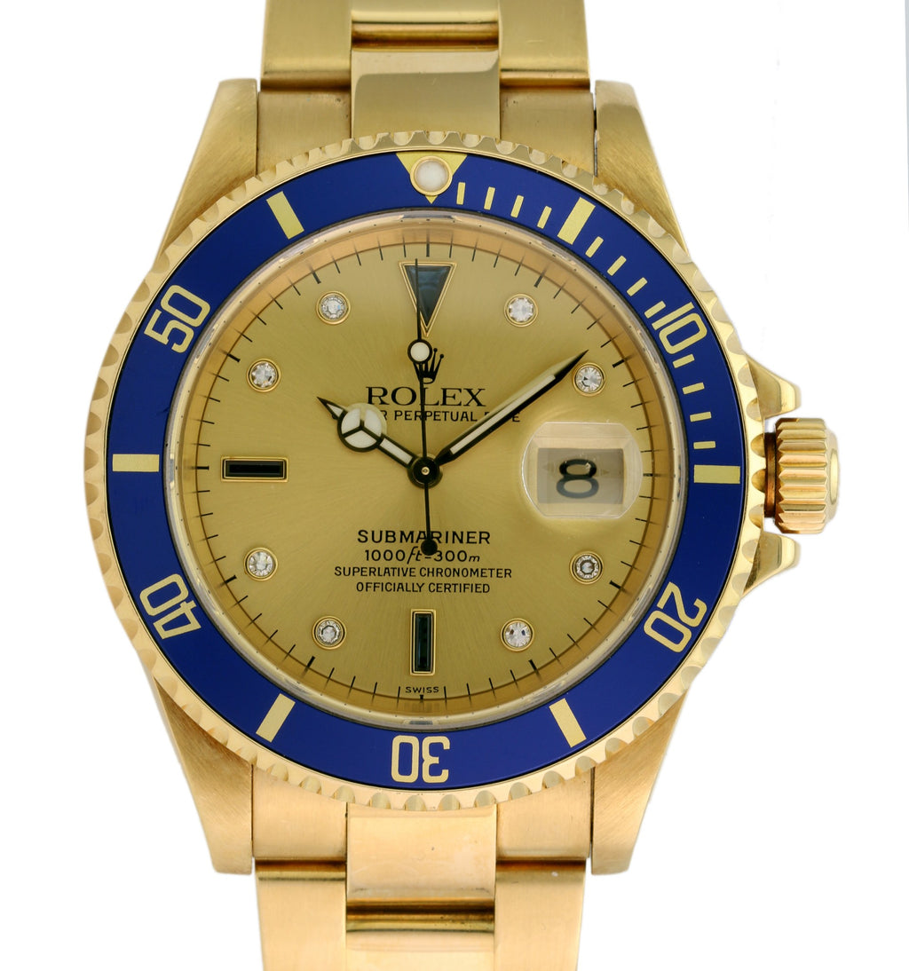 "Pre-Owned Men's Rolex Submariner 16618 40mm Gold Watch Champagne ""Serti"" Dial Blue Insert - LSM WATCH"