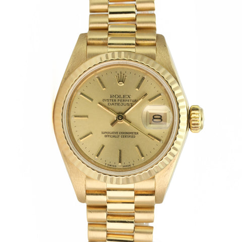 Rolex Watch Lady Sapphire Datejust 69178 18k Yellow Gold President Champagne - LSM WATCH