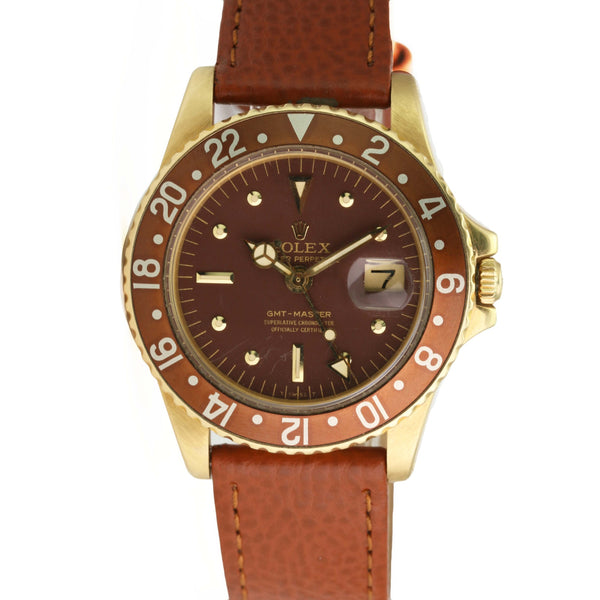 Pre-Owned Rolex Vintage GMT-Master 1675 Gold Watch Root beer Brown Nipple Dial Brown Leather - LSM WATCH