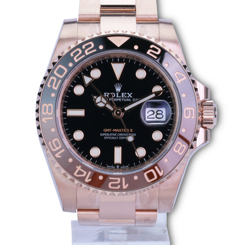 Rolex Men's GMT-Master II 126715 18K Rose Gold Black Dial Root beer Insert - LSM WATCH
