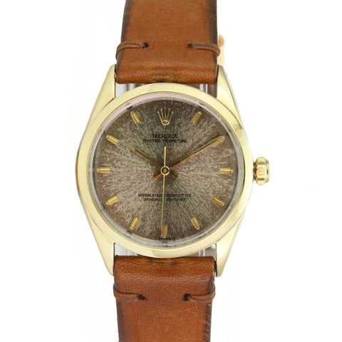 Rolex Watch Men's Oyster Perpetual Vintage 1024 14k Gold Cap Tropical Dial 1967 - LSM WATCH