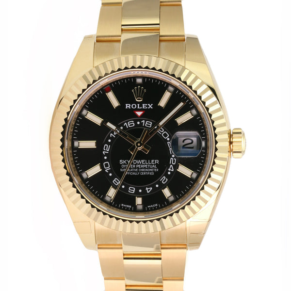 Rolex Men's 42mm Sky Dweller 326938 18K Yellow Gold Black Dial Fluted Bezel - LSM WATCH