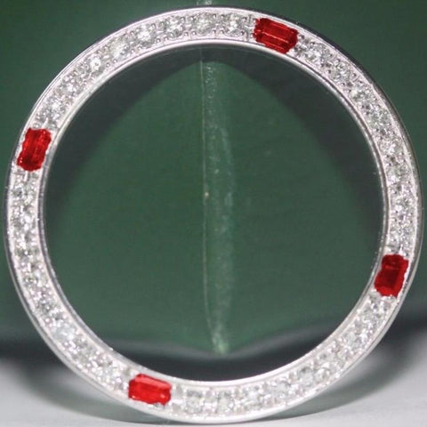 Rolex Custom 18K Gold Genuine High Quality Diamond & Ruby Bezel for 26mm .80ct - LSM WATCH