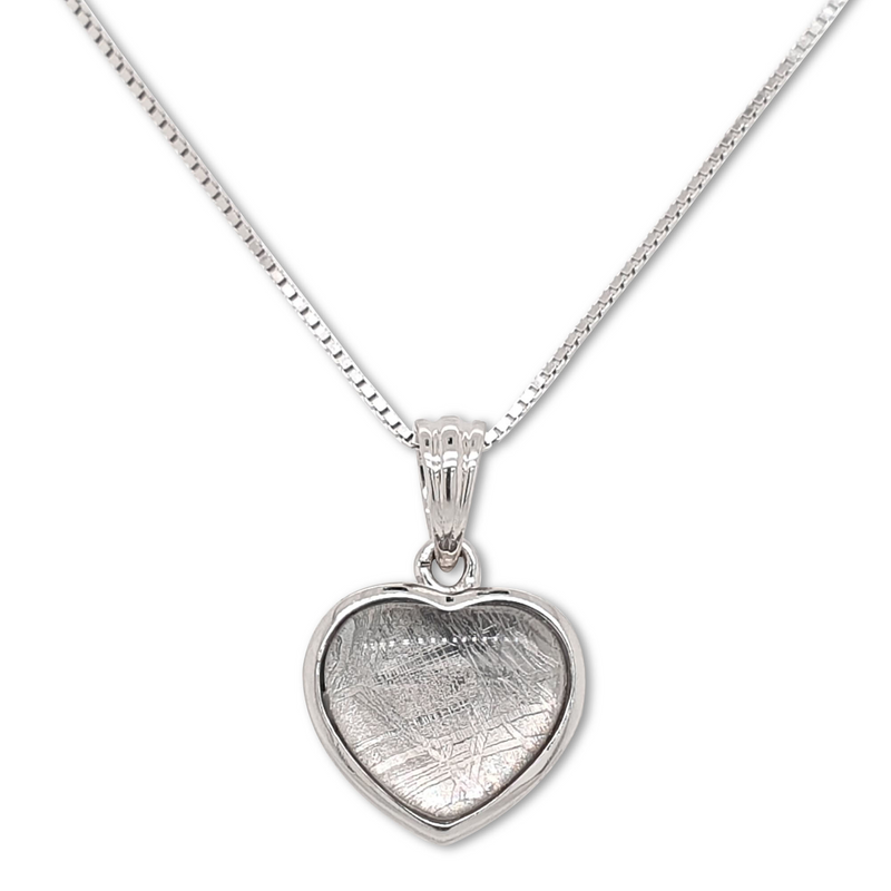 Silver Heart Meteorite Pendant Necklace - LSM WATCH