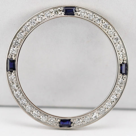 Custom White Gold Bezel w Diamonds and Sapphires for Rolex Ladies 26mm Watches