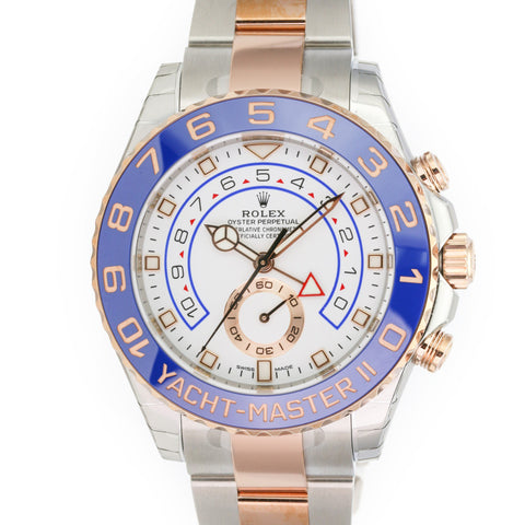 Unworn Men's Rolex Yacht-Master II 116681 44mm Two-Tone (Rose Gold and Stainless Steel) Watch White Dial Blue Insert - LSM WATCH