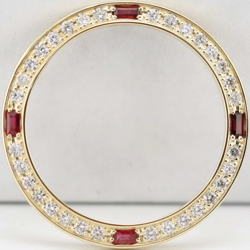 Custom Yellow Gold Bezel set w Diamonds and Rubies for Rolex Lady 26mm Watches