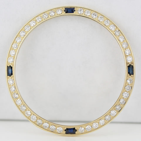 Custom Yellow Gold Bezel w Diamonds and Sapphires for Rolex Mens 36mm Watches