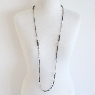 Cindy G 'BF049' Necklace - Grey / Champagne