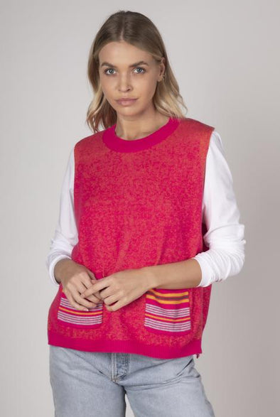 Z&P Weekend 'Button Back' Vest - Hot Pink