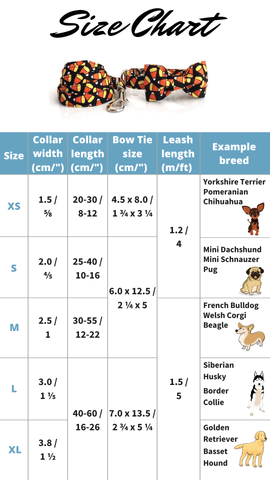 Candy Corn Collar Set Size Chart