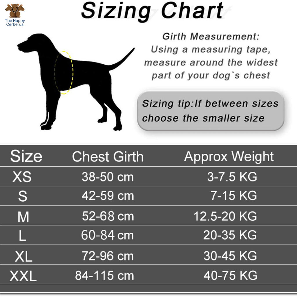 no pull training harness sizing chart