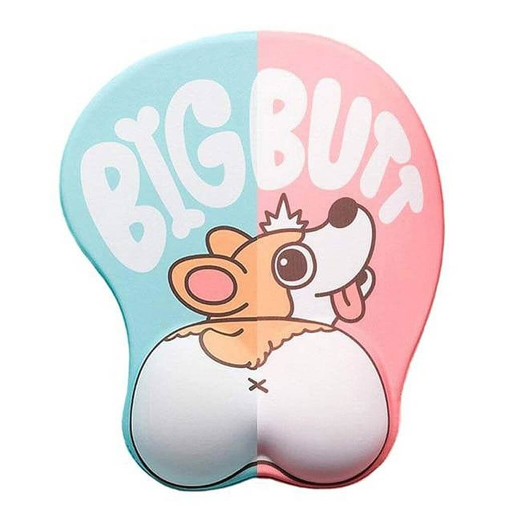 Big Butt Corgi Mouse Pad - Blue & Pink