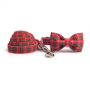 Red Christmas Plaid Collar Accessories - The Happy Cerberus