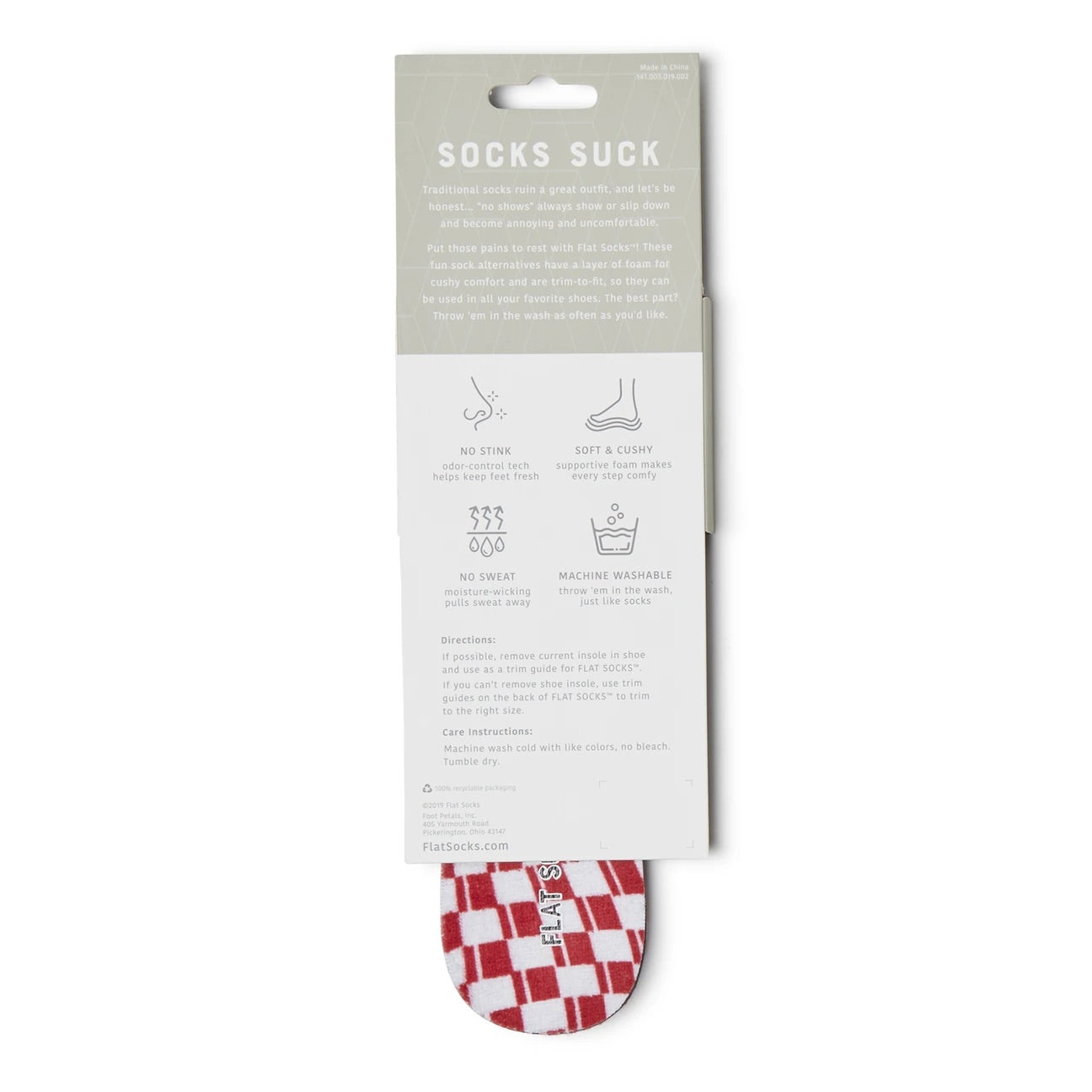 Terry Flat Socks - Red/White Check - The Storehouse Flats