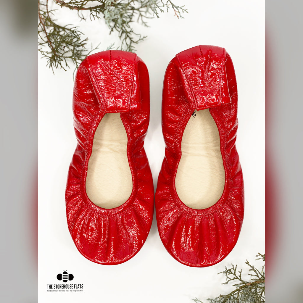 Christmas Red Patent Oil Tanned | IN-STOCK - The Storehouse Flats