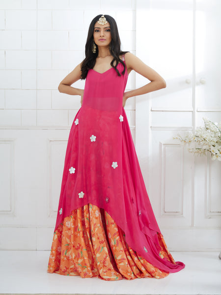 Mandira Wirk_FUCHSIA EMBROIDERED TUNIC WITH PRINTED LEHENGA