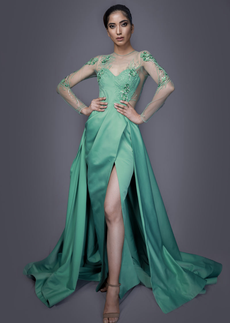 Sage green gown