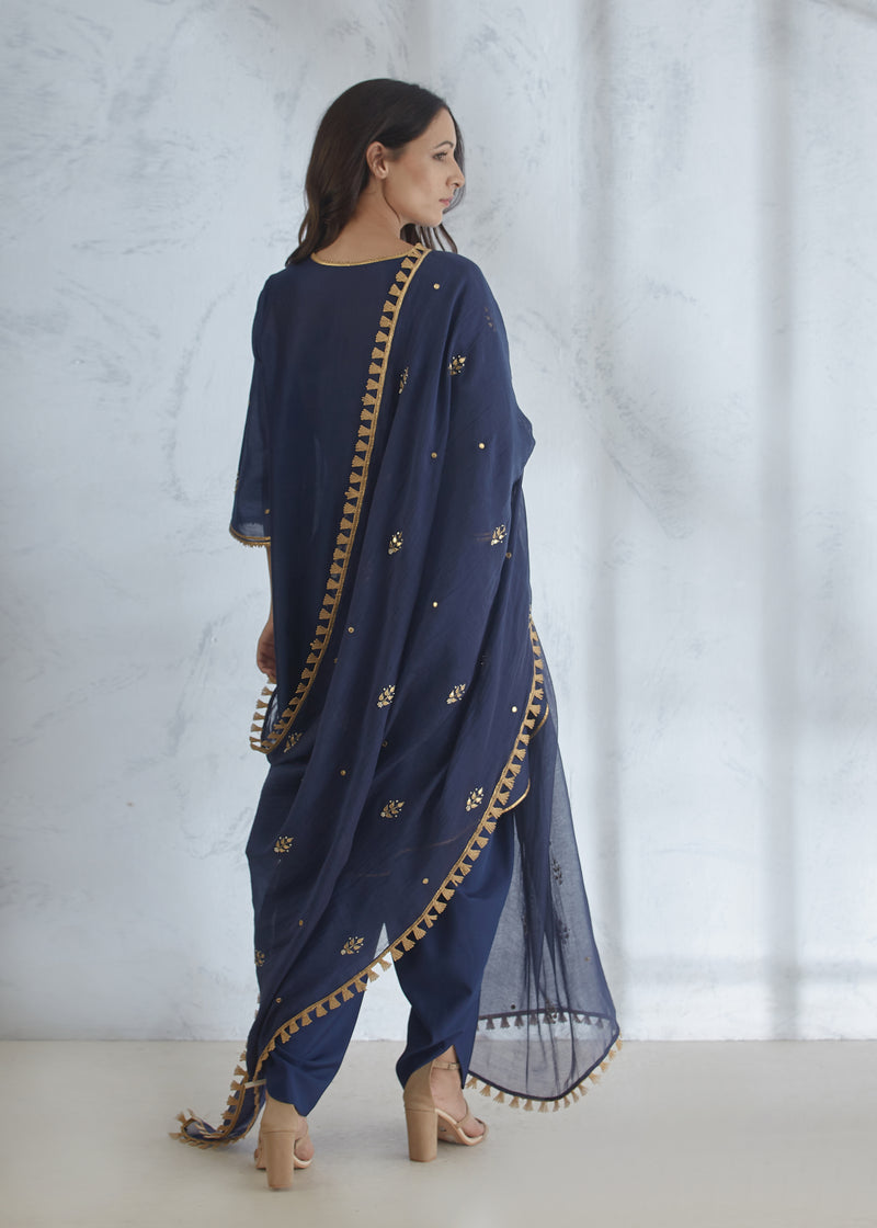 NAVY BLUE KURTA WITH DHOTI PANT AND DUPATTA