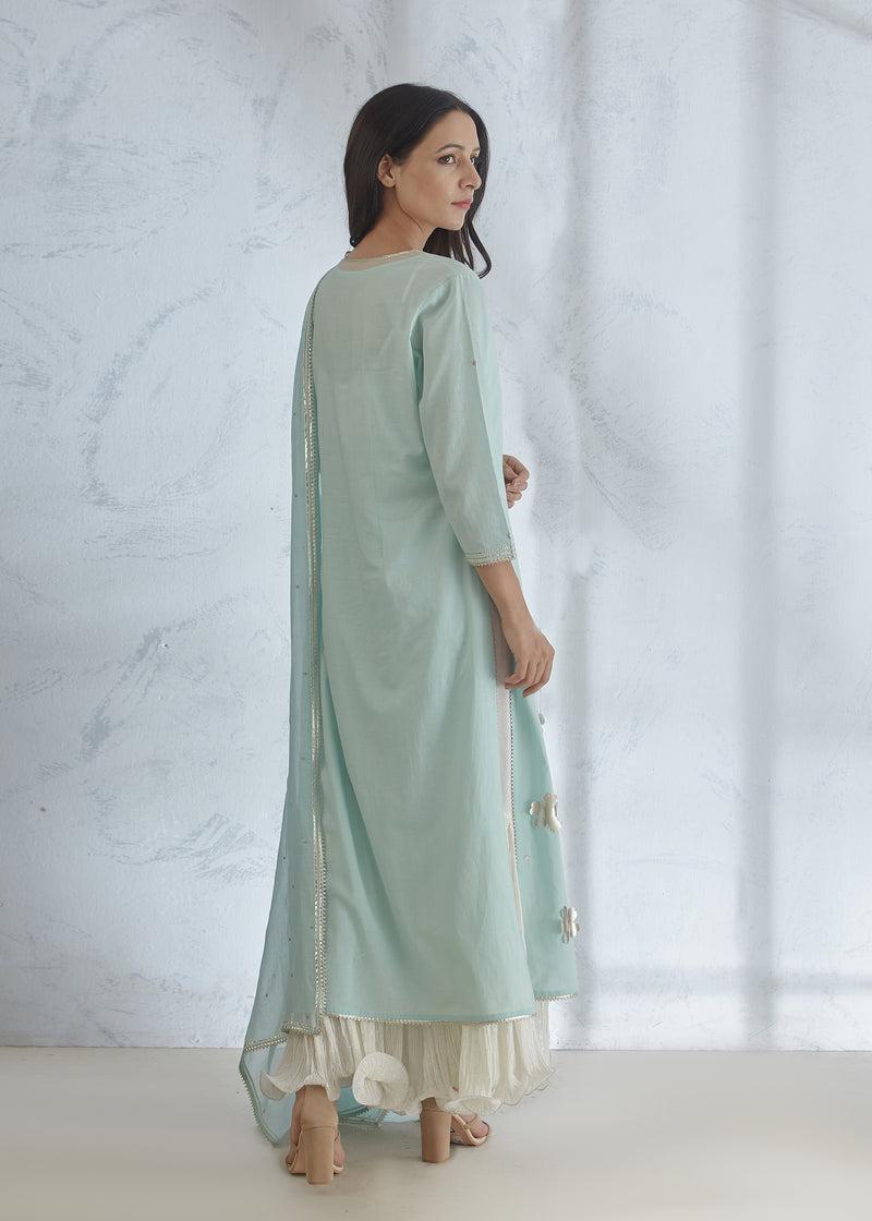 AQUA SILVER  KURTA WITH INNER DRESS
