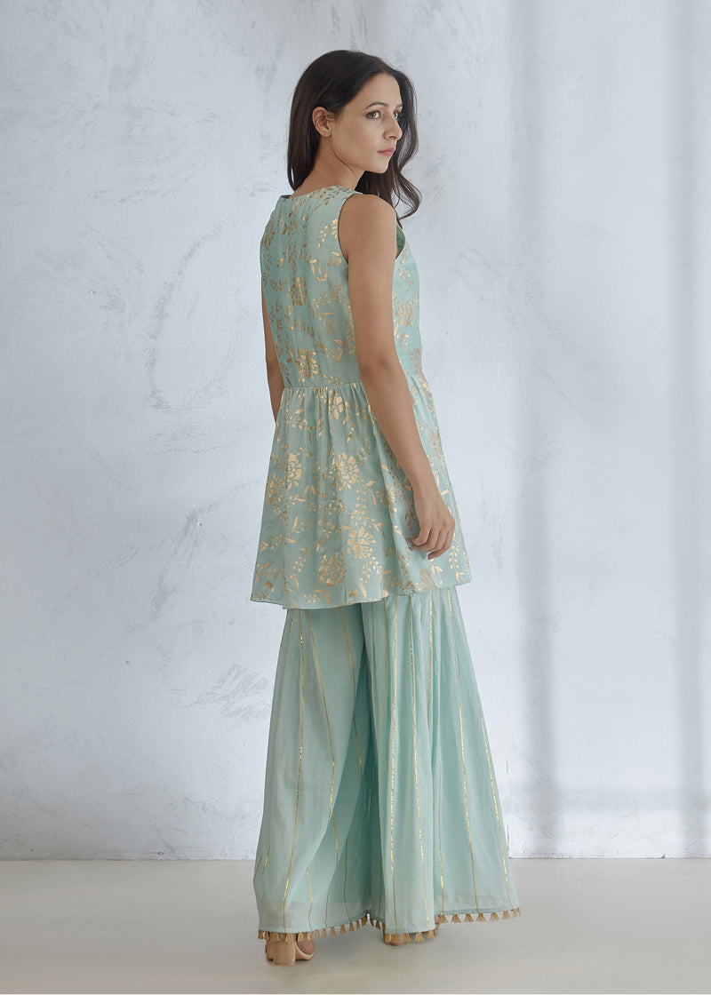 AQUA FOIL PRINTED KURTA WITH SHARARA AND DUPATTA