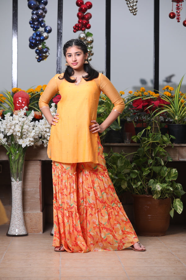 YELLOW EMBROIDERED KURTA WITH SHARARA