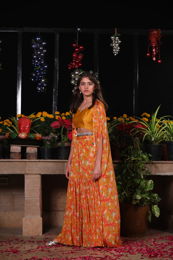 GOLD BLOUSE WITH PRINTED CAPE AND SHARARA