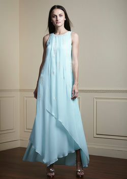 Aqua long layered dress.