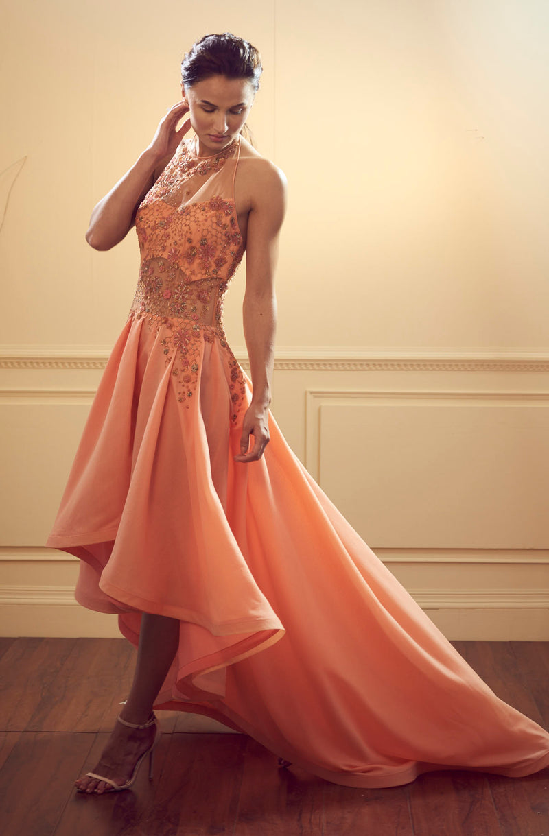 Asymetrical Halter Neck Gown