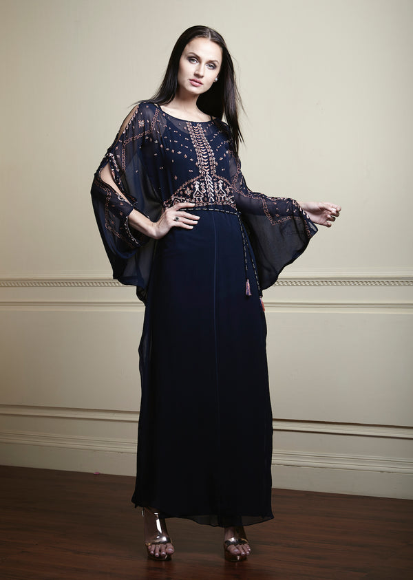 Navy blue, Contrast geometric hand embellished, long, glamorous georgette kaftan.