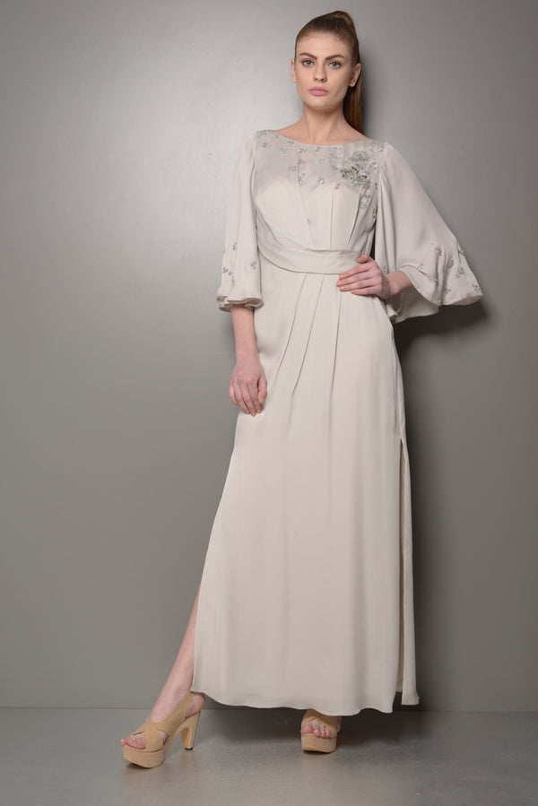 DRESS WITH SLIT AND BELL SLEEVES