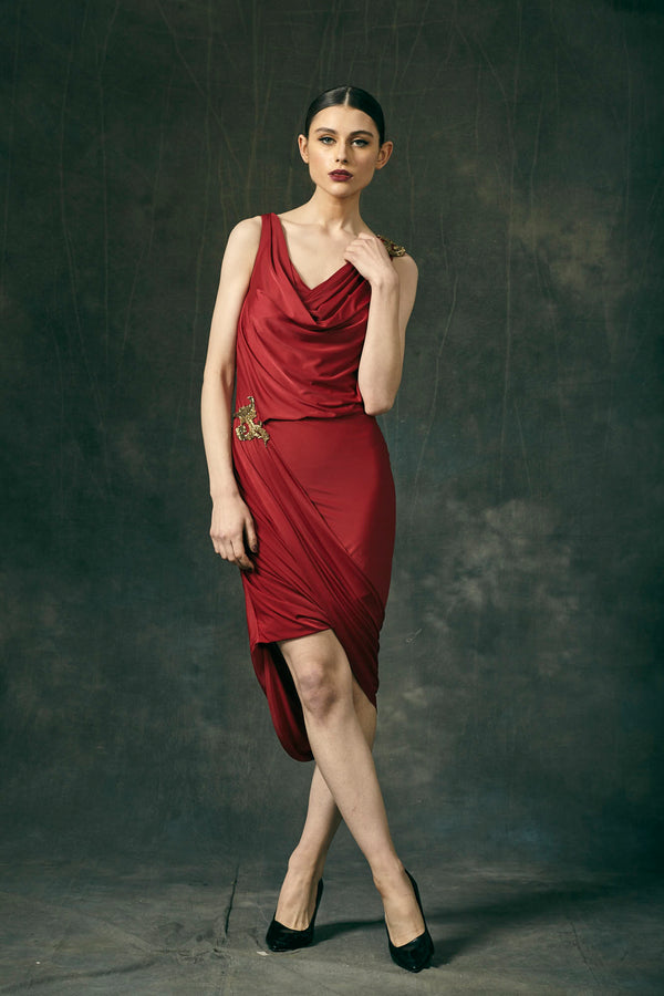 Cherry Red Jersey Draped Midi Dress