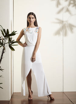 White asymmetric layered,  hand-embellished dress.