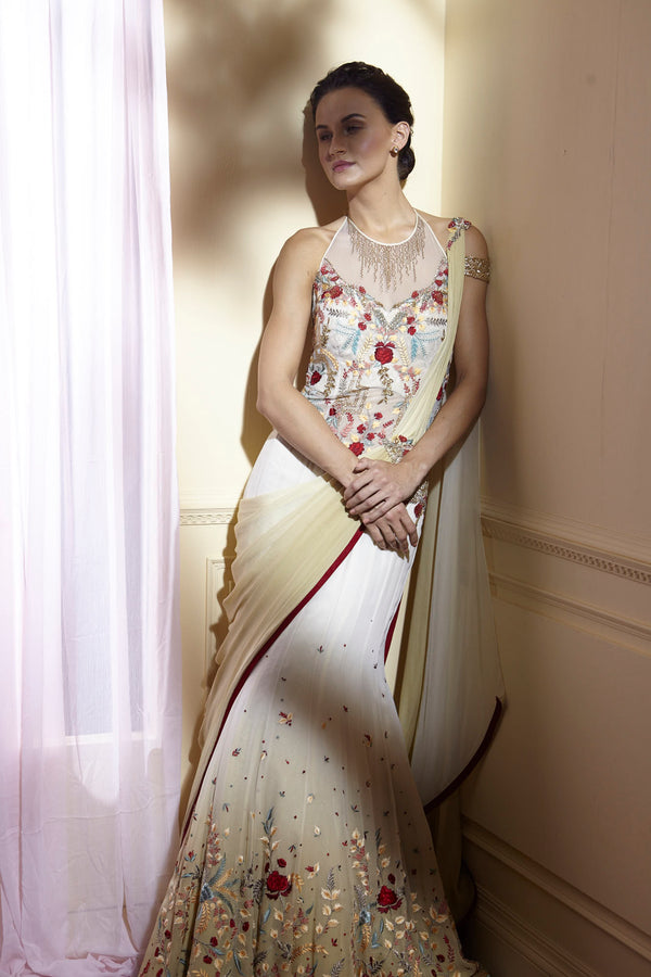 Ivory exquisite embroidered saree