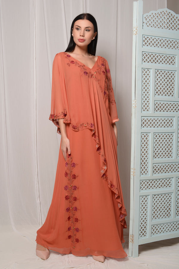 EMBROIDERED LAYERED KAFTAN