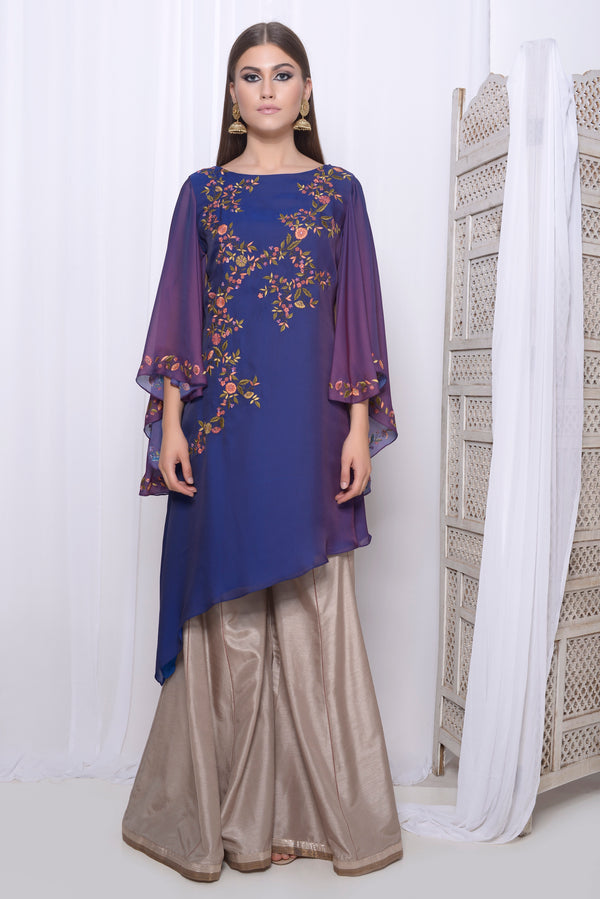 Embroidered Asymmetric kurta with cape