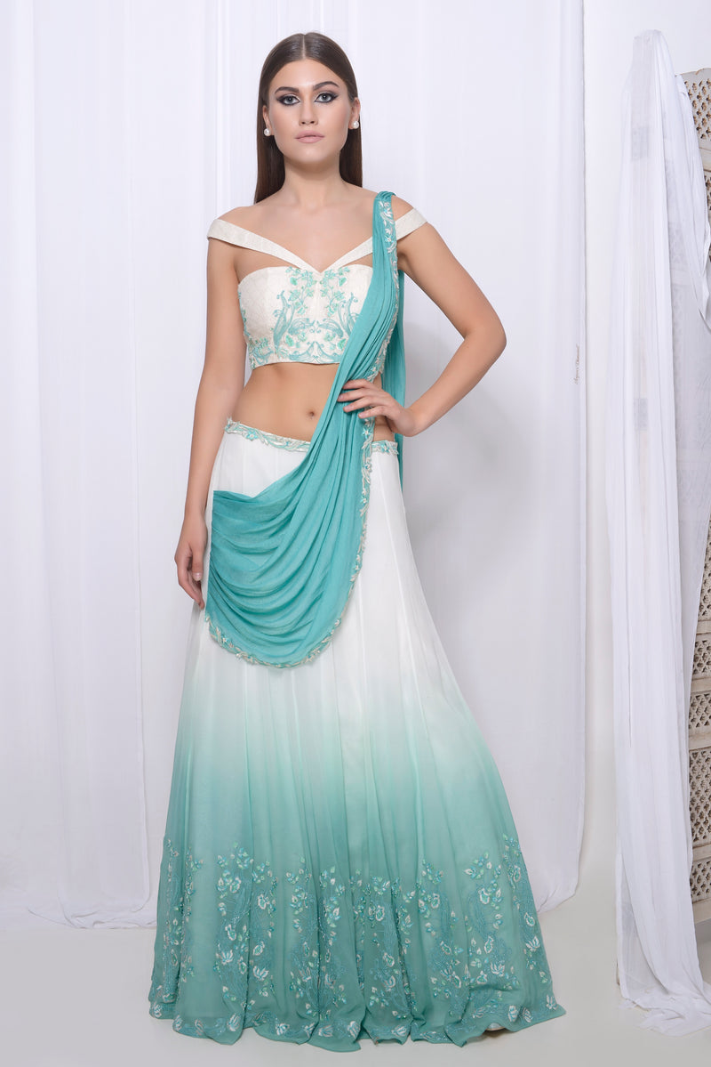 Embroidered blouse with embroidered lehenga with 16 kali and draped dupatta