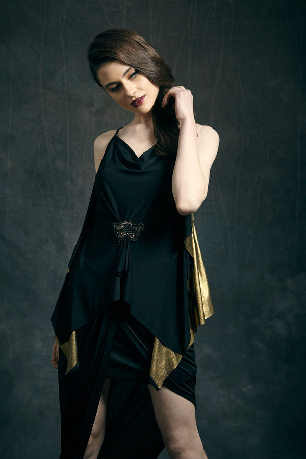 Black Jersey Asymmetric Dress