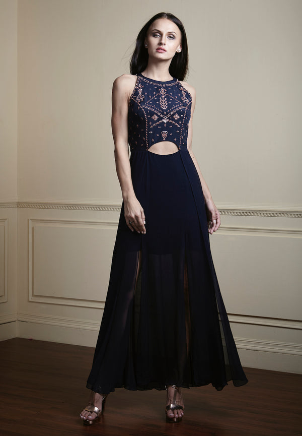 Navy blue, Contrast geometric hand-embellished glamorous multi-layered, long georgette dress.
