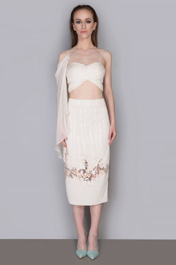 ONE SIDE CASCATE RAPE BRALET+PENCIL SKIRT