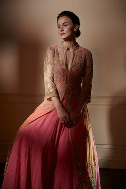 Tulle jacket with coral anarkali