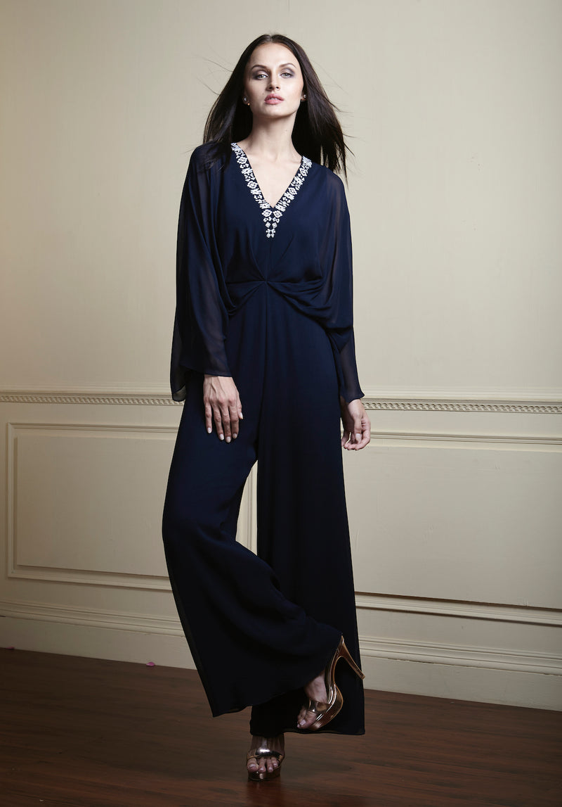Glamorous jumsuit,hand embellished neckline, exquisite embroidered and fine details on the edges.