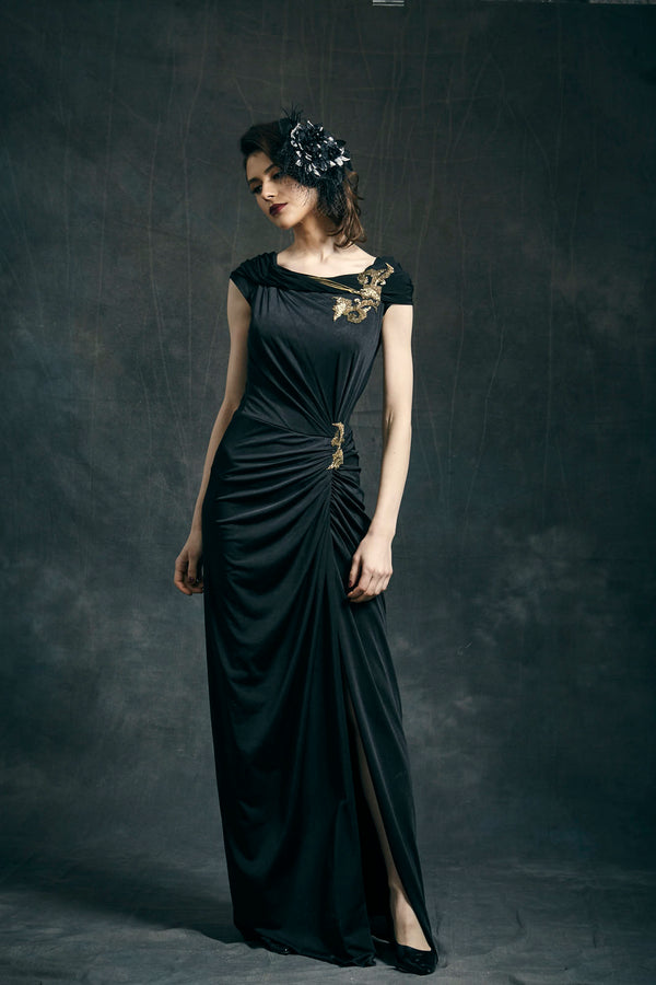 Black Jersey Draped Asymmetric Dress