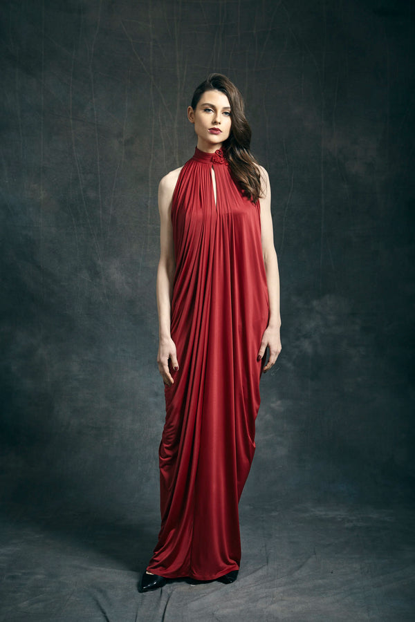 Cherry Red Jersey Maxi Dress